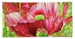 Beach Towel featuring the mixed media Red Poppy Garden by Carol Cavalaris