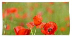 Red Poppy In A Field Of Poppies Beach Sheet