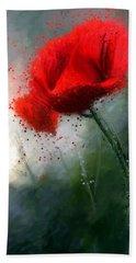 Red Poppy Beach Towel