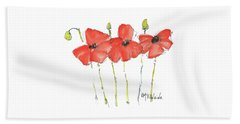 Red Poppy Play Beach Sheet
