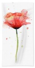 Red Poppy Watercolor Beach Towel