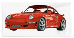 Red Porsche 993 1997 Twin Turbo R Beach Towel