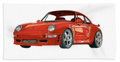 Red Porsche 993 1997 Twin Turbo R Beach Towel