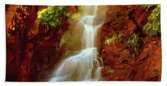 Beach Towel featuring the painting Red River Falls by Peter Piatt