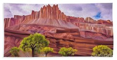 Red Rock Cougar Beach Towel by Walter Colvin