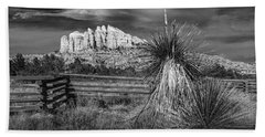 Beach Sheet featuring the photograph Red Rock Formation In Sedona Arizona In Black And White by Randall Nyhof