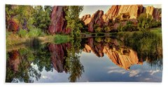Red Rocks Reflection Beach Towel