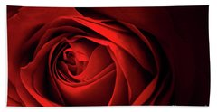 Red Rose Close Beach Sheet by Charline Xia