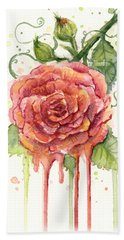Red Rose Dripping Watercolor  Beach Towel by Olga Shvartsur