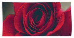 Beach Towel featuring the photograph Red Rose Floral Bliss by Sharon Mau