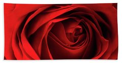 Red Rose Flower Beach Towel by Charline Xia