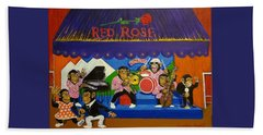Red Rose Tea Chimpanzees Beach Towel