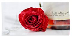 Red Rose With Champagne Beach Sheet