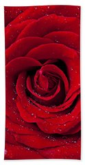 Red Rose With Dew Beach Towel