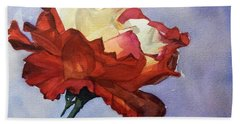 Watercolor Of A Red And White Rose On Blue Field Beach Towel