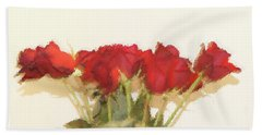 Red Roses Under Glass Beach Towel by Margie Avellino