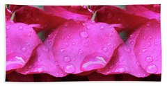 Red Roses And Raindrops Beach Sheet