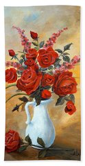Red Roses In A White Pitcher Beach Sheet