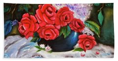 Red Roses Beach Towel by Jenny Lee