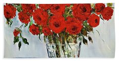 Red Roses Memories Beach Sheet