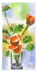 Beach Sheet featuring the painting Red Roses With Holly by Kip DeVore