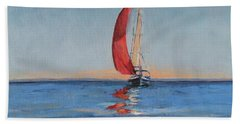 Red Sail Early Sunset Beach Towel