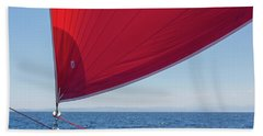 Beach Sheet featuring the photograph Red Sail On A Catamaran 2 by Clare Bambers
