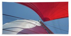 Beach Towel featuring the photograph Red Sail On A Catamaran 3 by Clare Bambers