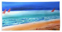 Beach Towel featuring the painting Red Sails by Winsome Gunning