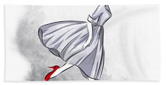 Red Shoes Red Lips Beach Towel