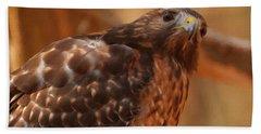 Red Shouldered Hawk 1  Beach Towel by Chris Flees