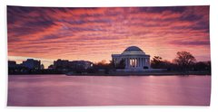 Beach Towel featuring the photograph Red Skies At Dawn by Edward Kreis