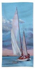 Red Skies Beach Towel by Trina Teele