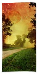 Red Sky Along Starry Pathway Beach Towel