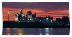Red Sky At Night Over Port Of Tampa Beach Towel