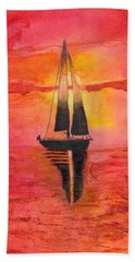 Red Sky At Night Sailors Delight Watercolor Beach Towel