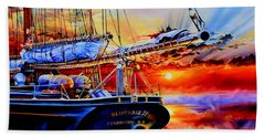 Beach Towel featuring the painting Red Sky In The Morning by Hanne Lore Koehler