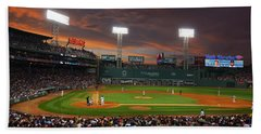 Red Sky Over Fenway Park Beach Towel