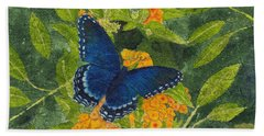 Red Spotted Purple Butterfly Batik Beach Sheet