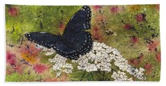 Red Spotted Purple Butterfly Queen Annes Lace Batik Beach Towel