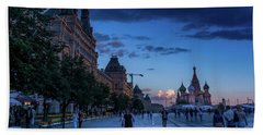 Red Square At Dusk Beach Sheet