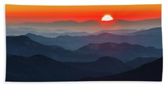 Red Sun In The End Of Mountain Range Beach Towel