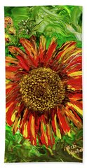 Red Sunflower Beach Towel