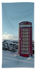 Red Telephone Box In The Snow IIi Beach Towel