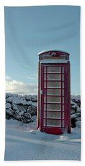 Red Telephone Box In The Snow IIi Beach Sheet