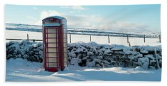 Red Telephone Box In The Snow V Beach Sheet