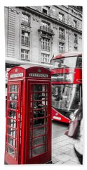 Red Telephone Box With Red Bus In London Beach Sheet