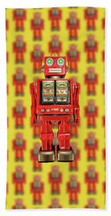 Beach Towel featuring the photograph Red Tin Toy Robot Pattern by YoPedro