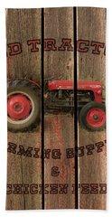 Red Tractor Farming Supply Beach Sheet