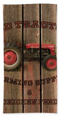 Red Tractor Farming Supply Beach Sheet